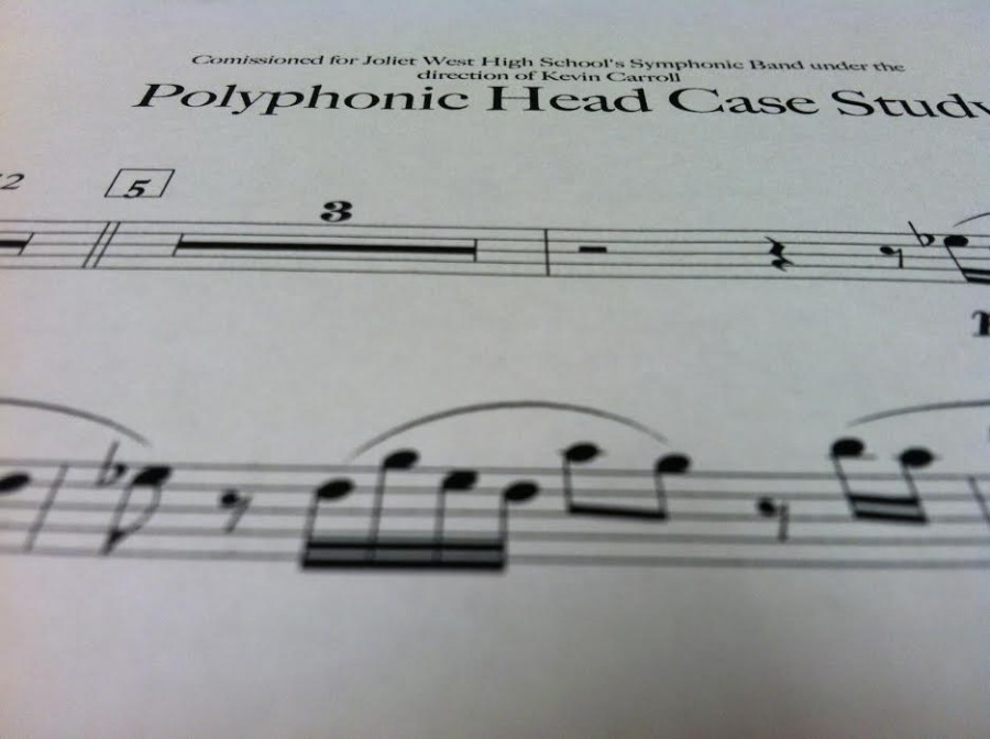 "The Joliet West's Symphonic Band had a peice""Polyphonic Headcase Study"" made for them."