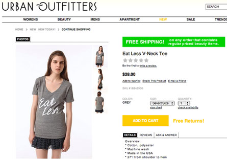 Shirts like this, which have caused people to protest the company, are featured on the Urban Outfitters online website
