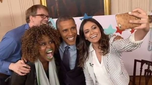GloZell Green, Hank Green, and Bethany Mota pose for a selfie with President Obama after completing their YouTube interviews.