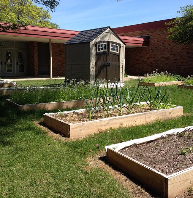 JWHS Gardening Club located outside of the H building foyer