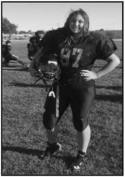 Keegan Peretti is a linebacker on the freshman football team. Photo by Izzy Bohanek.