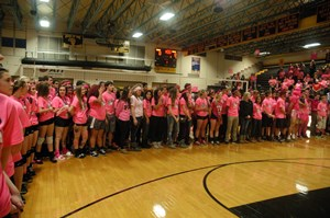 JTHS held its annual Pink Heals volleyball game on October 1. Photo courtesy of jths.org.