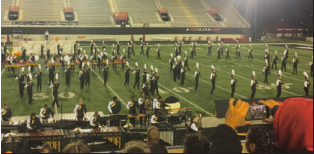 Joliet West Marching Tigers performing The Fabric of Time at NIU, placing 3rd place overall out of the 5 schools performing in their division. Photo courtesy of Aileen Carranza.
