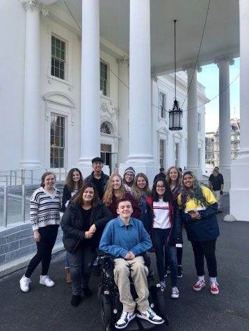The 2019 Joliet West High School advanced journalism students and their teacher Ms. Galloy at the White House in Washington D.C. on November 21.