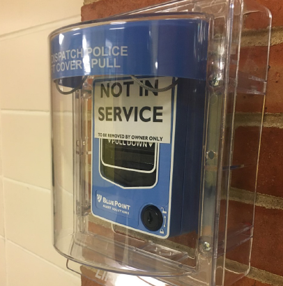 "Pictured is one of the out-of-service BluePoint police pull stations. There are many stations around campus, however while they're not working they have a ""not in service sign."" Photo courtesy of Kiersten Jordan."