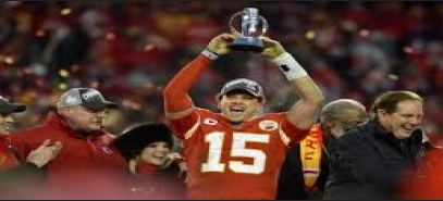 Kansas City Chiefs quarterback celebrating after winning the AFC Champi- onship game. Photo courtsey of google images.