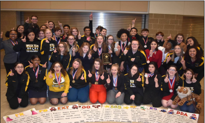 On January 25, the Joliet West Speech team took first place at the Southwest Prairie Conference hosted by Joliet Central. Photo courtesy of Kristin Blake.