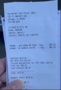 On this receipt, the THC is shown to be taxed by 35% at this shop. Photo courtesy of a shoper at The Herbel Care Center