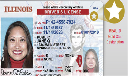 You can tell a real ID by the yellow star in the right-hand corner you can get the Real ID on either your State ID or driver's license. Photo courtesy of The Official Website for Illinois Secretary of State.