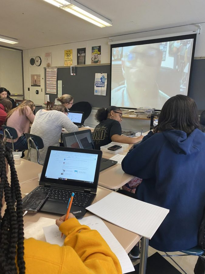 Aspiring journalists skyped with Kevin Kollins from WJOL for Scholastic Journalism Week.