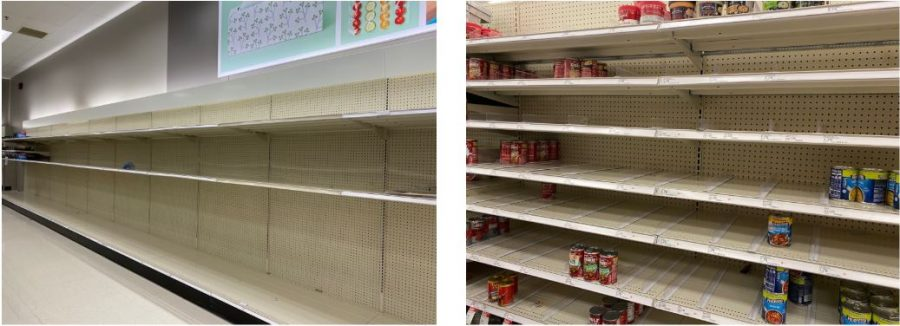 The left photo is of the toilet paper shelves on March 15 in the Target located in Shorewood. The right photo is of the canned goods section of the same store, both left nearly empty after Coronavirus began to spread throughout America.