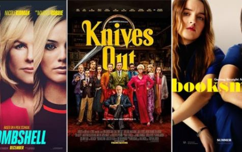 Posters for the films Bombshell, Knives Out, and Booksmart. All three movies were released in 2019 and are now available to stream. Photos courtesy of IMDb.