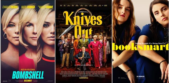 Posters+for+the+films+Bombshell%2C+Knives+Out%2C+and+Booksmart.+All+three+movies+were+released+in+2019+and+are+now+available+to+stream.+Photos+courtesy+of+IMDb.%0A