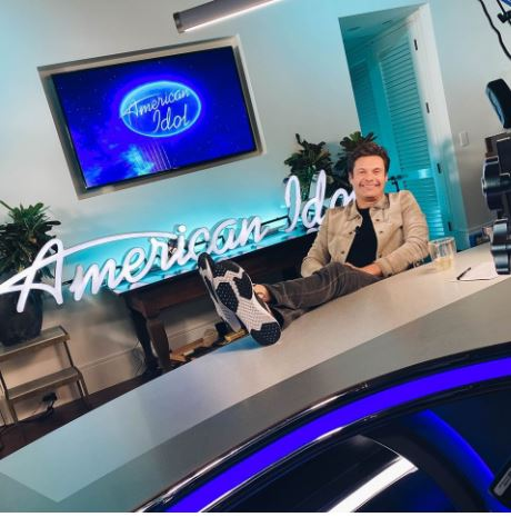 Photograph of Ryan Seacrest, who now hosts ABC's American Idol virtually from his home. Photo courtesy of American Idol's Facebook page.