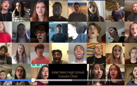 Choir Director, Mr. Deboer, arranged for The Joliet West Choir sings The Star Spangled Banner together from home. Photo taken from Joliet West Vocal Music Facebook