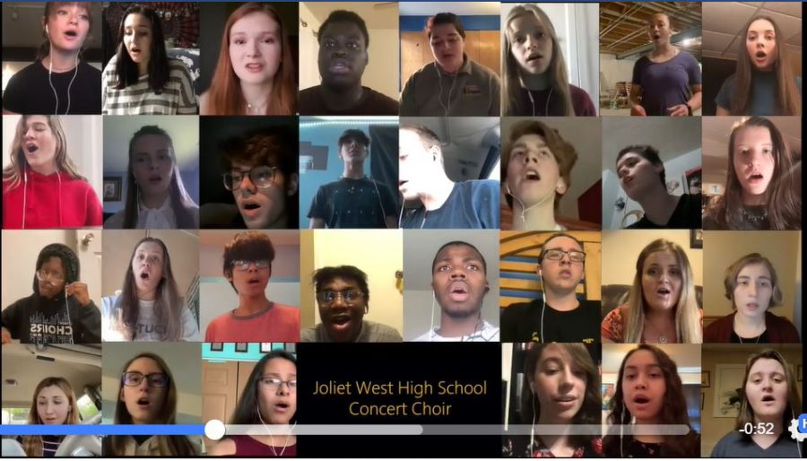 Choir+Director%2C+Mr.+Deboer%2C+arranged+for+The+Joliet+West+Choir+sings+The+Star+Spangled+Banner+together+from+home.+Photo+taken+from+Joliet+West+Vocal+Music+Facebook+